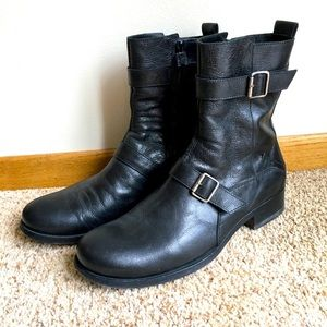 Costume National Homme Black Leather Moto Boots